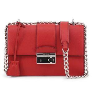 Prada small Saffiano red shoulder bag
